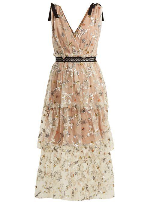 96f271a5d8bf Self-portrait Star mesh midi-dress | dresses | Self portrait dress ...