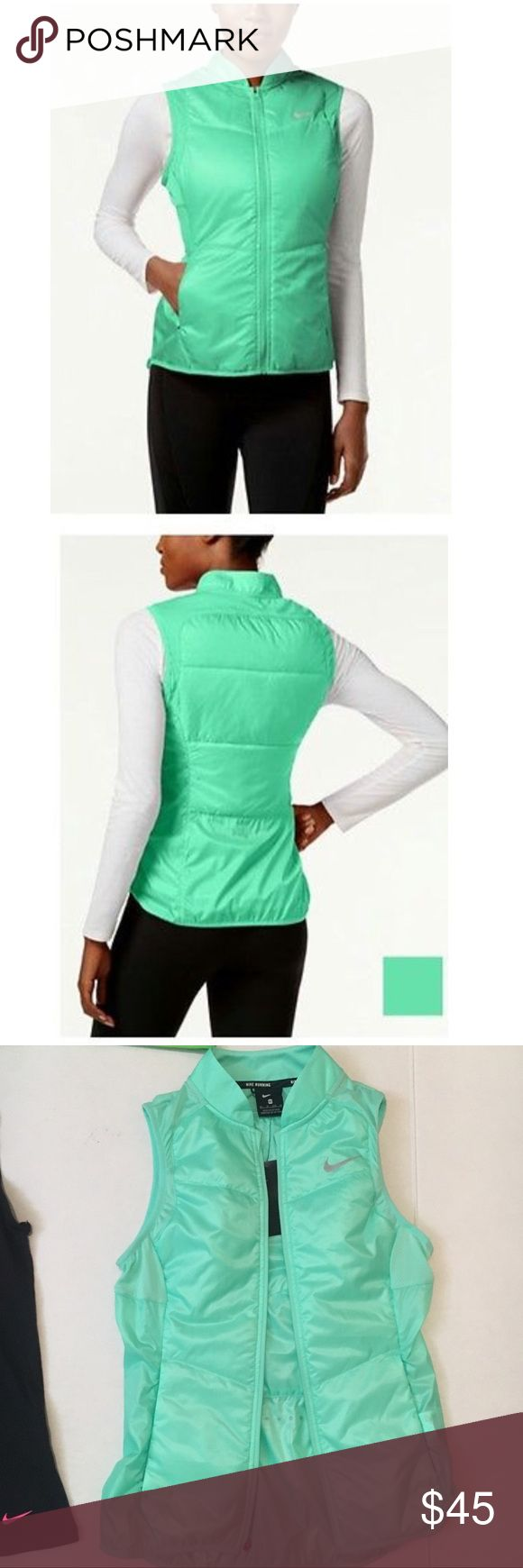 Nwt Nike polyfill running vest $80 Sz xs Nwt green Nike vest brand new. With tag! Nike Jackets & Coats Vests