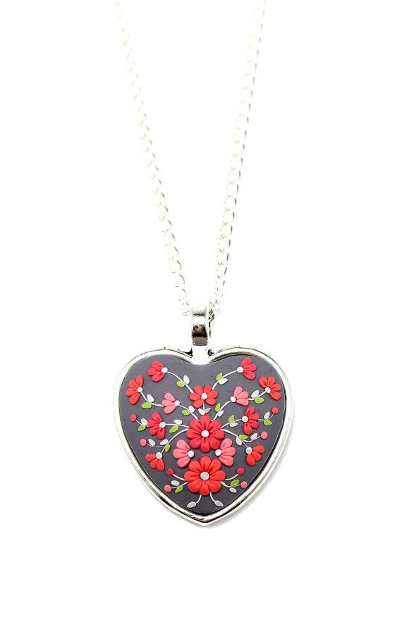 Hey, I found this really awesome Etsy listing at https://www.etsy.com/listing/217300169/floral-pendant-necklace-beauty-gray-red