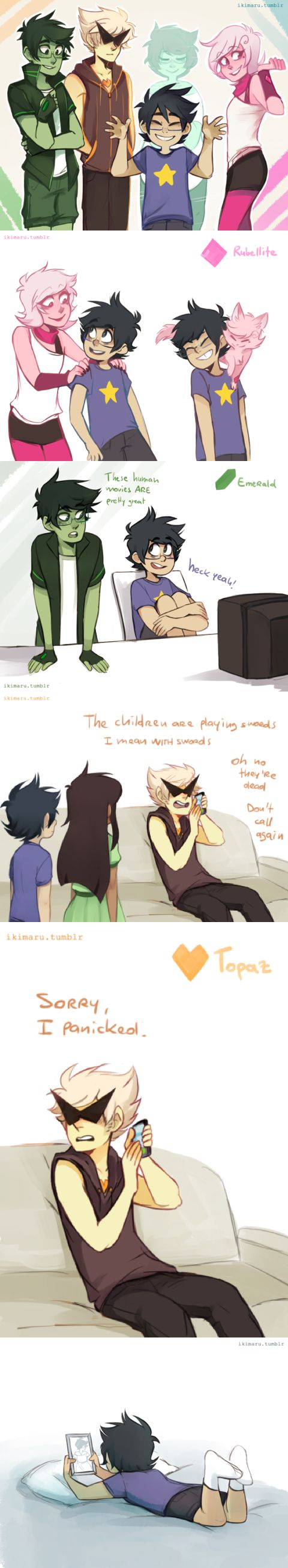 BEST CROSSOVER EVER http://ikimaru.tumblr.com/post/118895915300/got-around-finishing-those-drawings-for-the-su-au