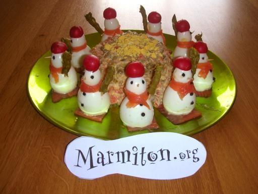 Bonhomme de neige : entrée de Noël : Recette de Bonhomme de neige : entrée de Noël - Marmiton