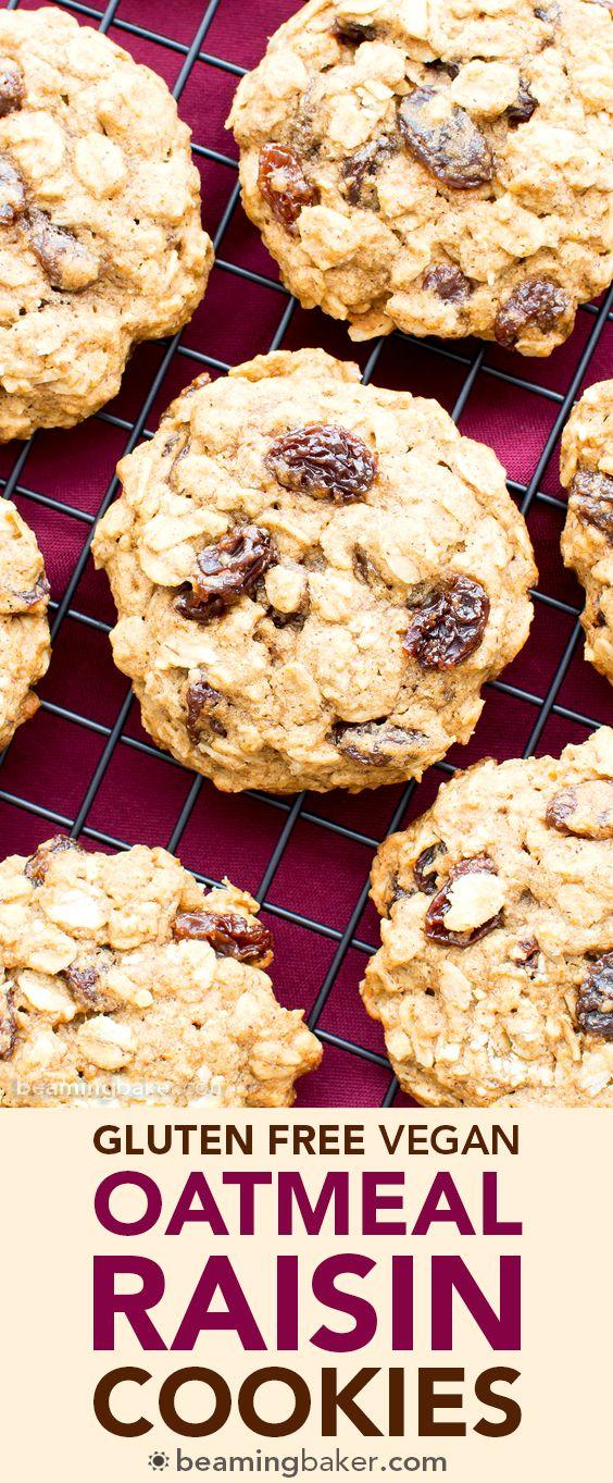 Easy Gluten Free Vegan Oatmeal Raisin Cookies (V, GF, DF): an easy recipe for soft and chewy oatmeal cookies bursting with juicy raisins. #Vegan #GlutenFree #DairyFree #OatFlour | BeamingBaker.com