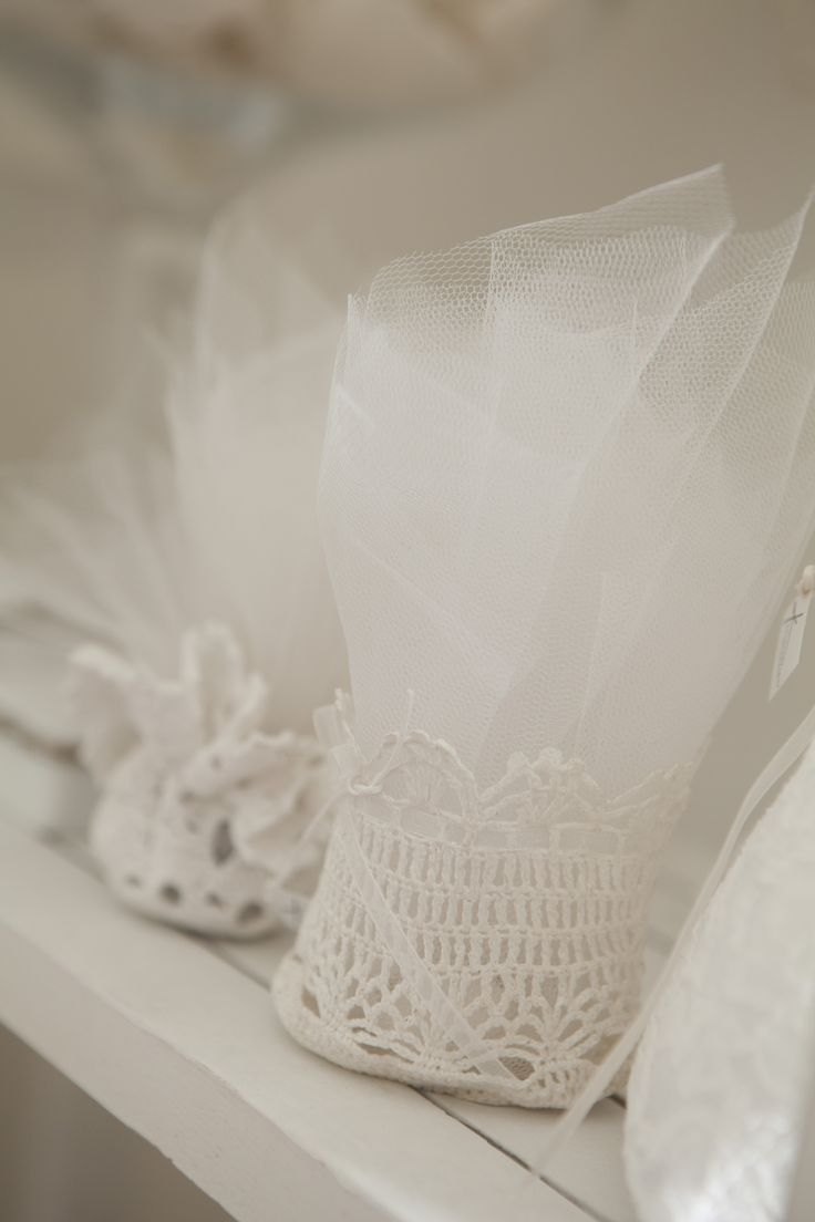 Hand made Antique laces and tulle for romantic wedding favors and gifts