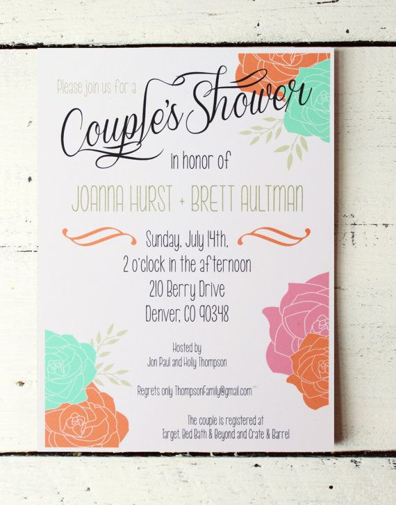 Couples Shower Invitation Bridal Shower Invitation Custom Invite Jack and Jill Shower Coed Shower Modern Vintage Wedding Floral Invitation on Etsy, $18.00