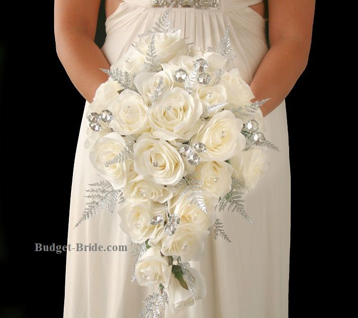 cascading winter wonderland silver glitter crystal brides teardrop bouquet white wedding. Black Bedroom Furniture Sets. Home Design Ideas