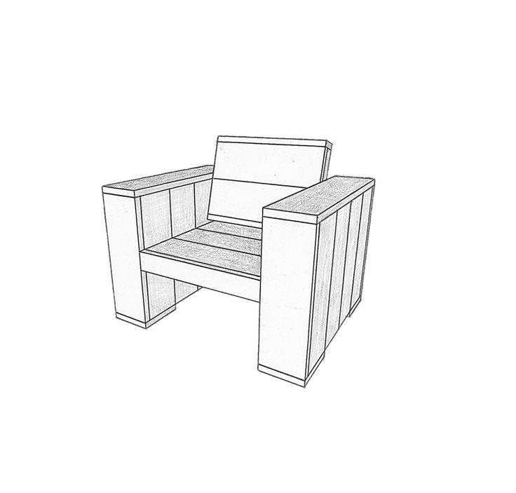 Loungestoel Steigerhout Maken - Bouwtekening Steigerhout