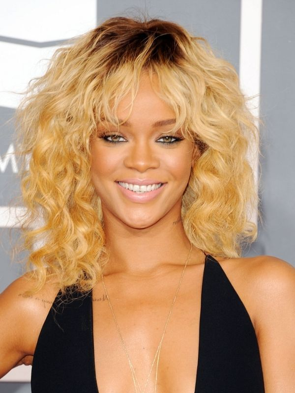 Rihanna Hairstyles 3brown curly ombre Rihanna Hairstyle 2012 Grammy Awards