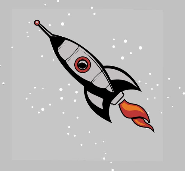 Giant Retro Rocketship Wall art decal by Walkingdeadpromotion, $59.99
