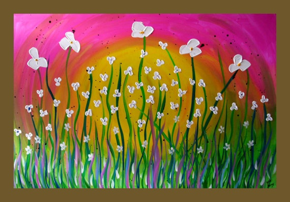 White Flower Field Painting on Canvas by DistinctiveModernArt, $175.00