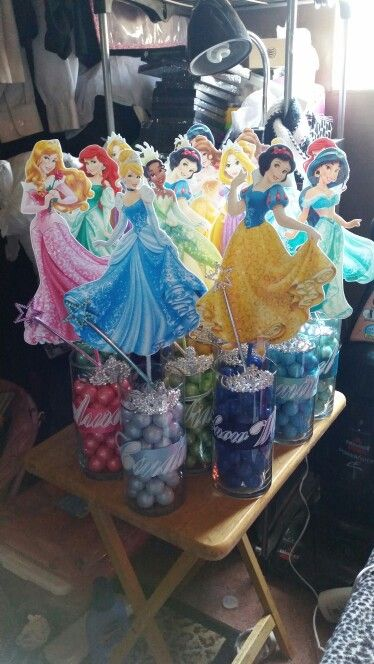 Disney princess centerpieces 1st birthday
