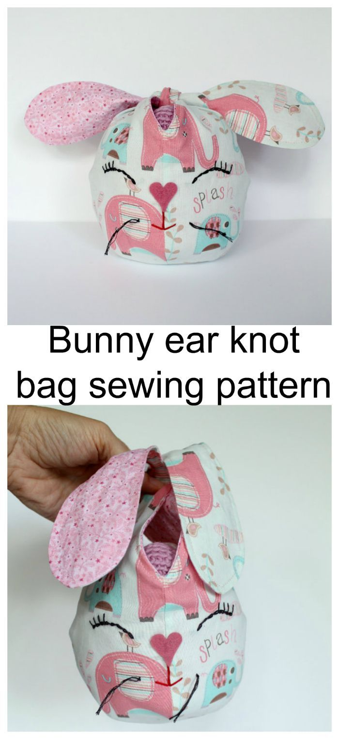 Bunny ear knot bag sewing pattern. Suitable for many ages, it would also be a good sewing project for a child wanting a sewing day with mum.