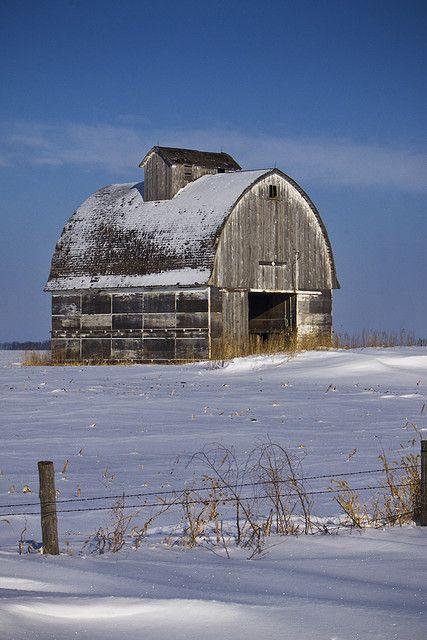 Iowa Barn in winter