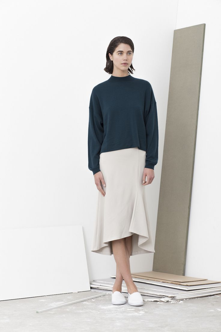 Lex merino wool fold hem back jumper worn with Bender high waist flair hem skirt