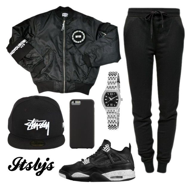 """Black/Jordan/Jordan4/stussy"" by itsbjs on Polyvore featuring T By Alexander Wang, Stussy, Lucien Piccard and Case-Mate"