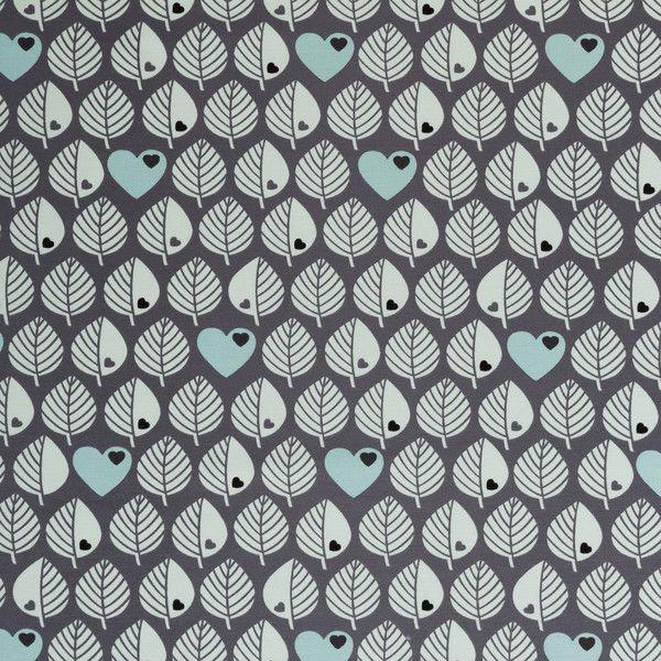 Stoff retro - Graziela Sweat Stoff Blätter grau anthrazit retro - ein Designerstück von lillelykka bei DaWanda