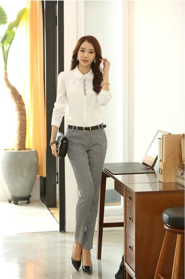 korean office work wear women's pants plaid polyester