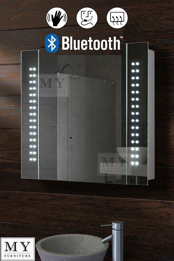 60 Led Bathroom Mirror Cabinet Bluetooth Shaver Demister Sensor Galactic