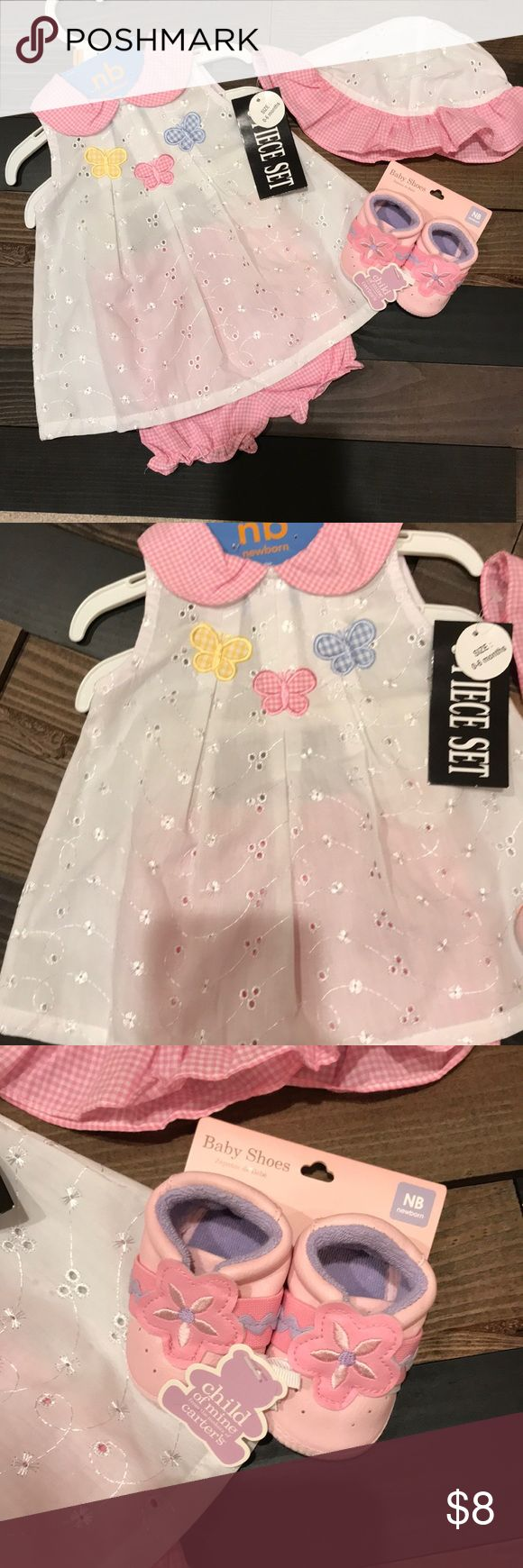 NWT.. White butterfly top w/pink plaid hat &shorts NWT.... white butterfly top with matching pink plaid shorts & hat and pink size NB shoes Carter's Matching Sets