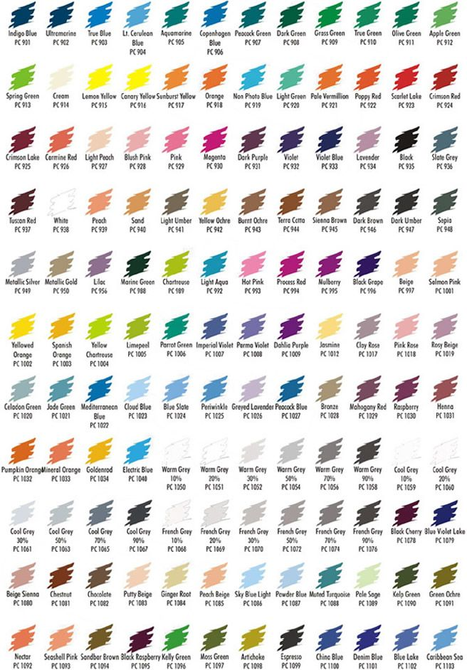 Prismacolor pencils color chart
