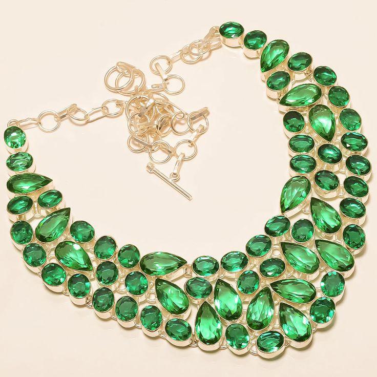 "Emerald Quartz 925 Sterling Silver Jewelry Necklace 18"" #Handmade #Choker"