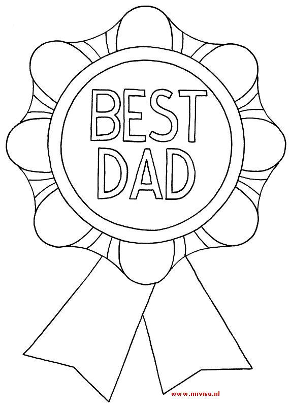 kleurplaat van vaderdag - oorkonde voor de beste papa!