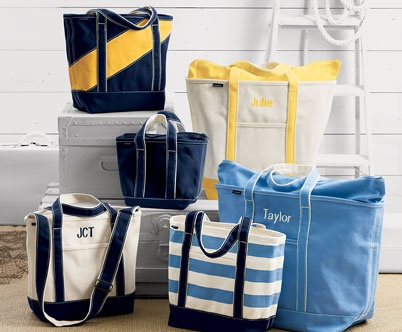 Love these bags...Size Totes, Jenny Baby, Gift Bags, Beach Day, Travel Bags, Favorite Gift, Stripes Canvas, Shower Gift, Baby Shower