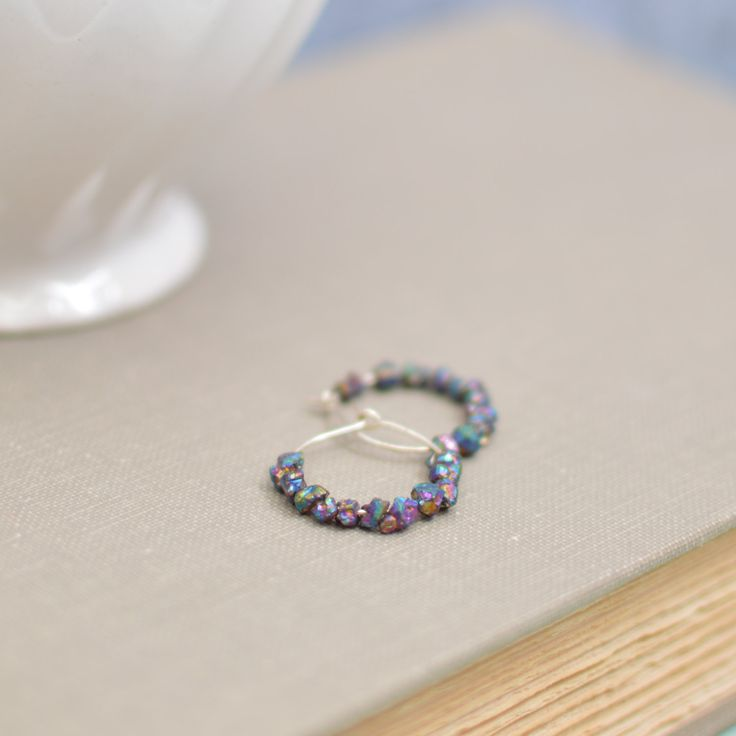 Silver Hoop Earrings with Titanium Plated Crystal Druzy Beads