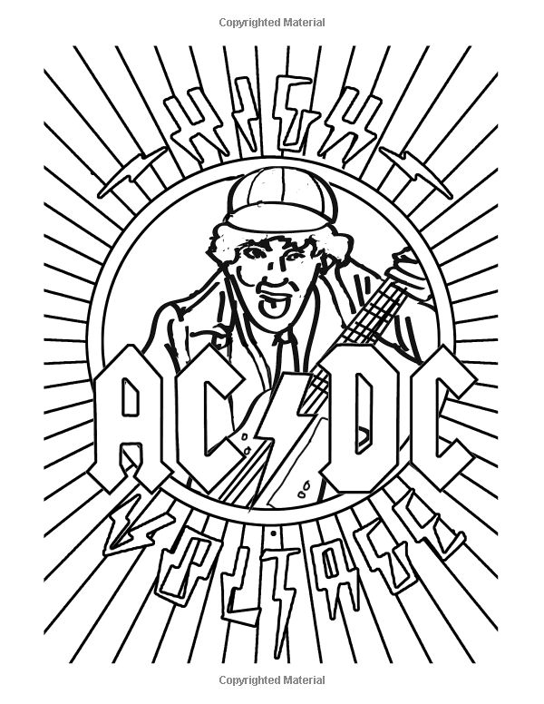 Color Me Rock Amp Roll Coloring Book About Classic Rockers