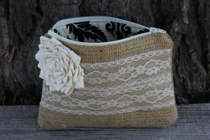 Burlap and Lace Wedding Clutch - Wedding Bag - Bridal Party - You Choose The Color Flower and Lining. $23.00, via Etsy.