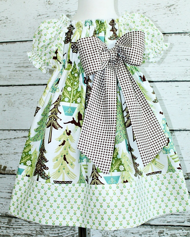"""Childrens Peasant style dress in """"Whimsical Forrest"""" Christmas Dress Its a Bows Life. $48.00, via Etsy."""