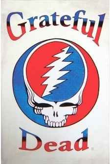 """Grateful Dead Steal Your Face Tapestry. A big ol' stealie on a white tapestry. This large Grateful Dead tapestry is approx. 60"""" x 90"""" and has the classic (SYF) Steal Your Face design. You can use this tapestry as wall hanging in your home or office, throw it over a  couch, or as a bedspread on a twin bed. It would look great in a dorm room. Also great to use at a festival. Officially licensed Grateful Dead merchandise. Available from Sunshine Daydream Hippie Shop."""