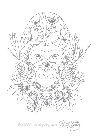Gorilla Adult Coloring Page to download and print for free