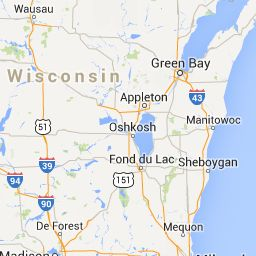 Image result for map of Manitowoc to Green Bay