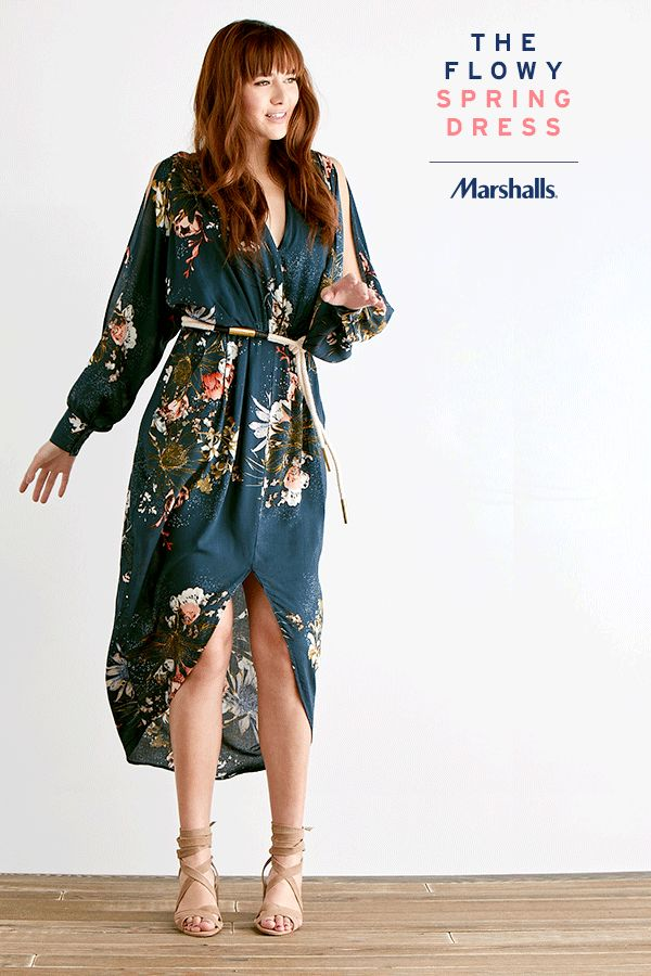 The floral dress you need this season! Grab a printed maxi dress with a deep V-neck and flowy, open sleeves. Pair with nude lace-up sandals — we love the block heel! Visit Marshalls today and put together your new spring look.