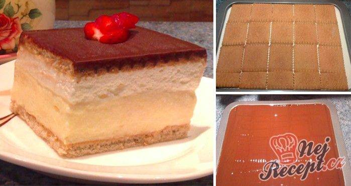 Jednoduchý krémeš z marina sušenek. Namísto zlatého klasu, který se dá sehnat v Kauflandu, můžete použít i vanilkový pudink (3 bal.)