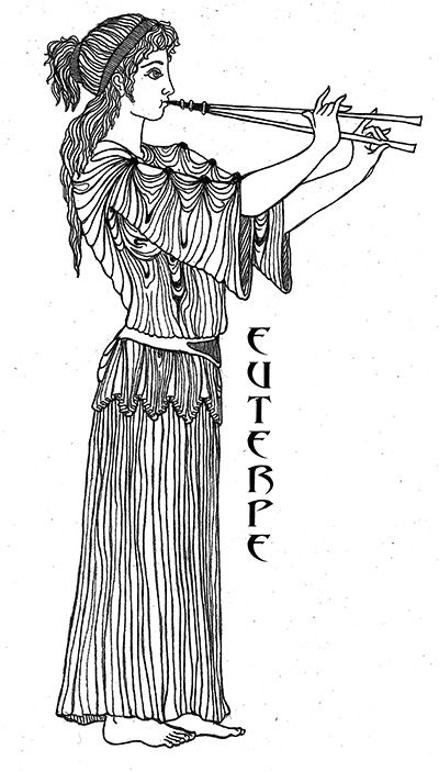 "Euterpe  - the ""Giver of Pleasure"" is the muse of Music and is represented with a Flute. It has been said she is the inventor of the double flute.  Art by Katlyn"