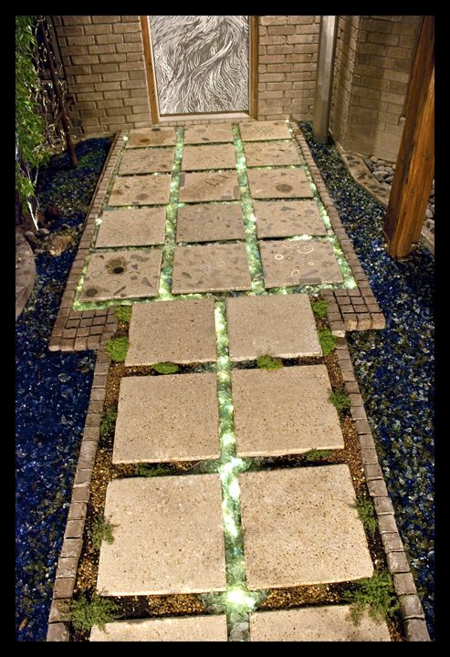 Entryway Path With Tumbled Recycled Glass And Concrete