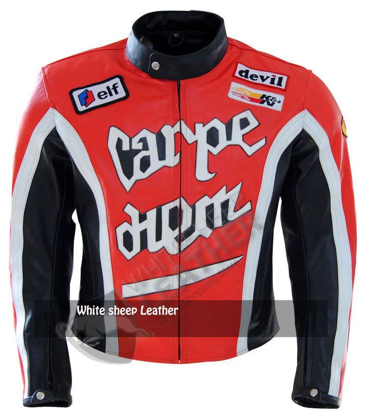 Carpe Diem Martin Henderson's Torque Movie Red Motorcycle Biker Leather Jacket #Handmade #Motorcycle