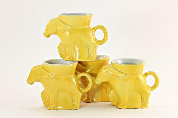 Set of 4, Frankoma Democratic Mugs, Frankoma Political Mugs, Frankoma Yellow Mugs, Collectible Frankoma Dem Mugs, Frankoma Donkey Mugs
