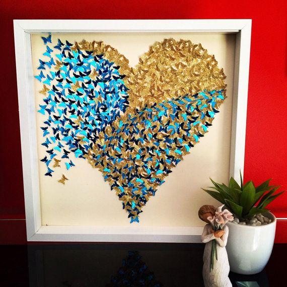 3D vlinders hart 3D vlinder muur papier vlinders hart
