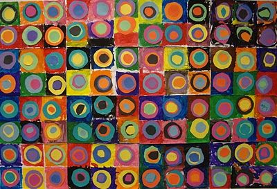 """guest book idea, everyone makes their own kandinsky circle, and then it's art for our home, or the cover of our """"thank you"""" notes (use wedding colors?)"""