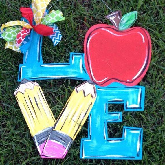 LOVE Teacher Door Hanger by CraftChaosDoorSigns on Etsy