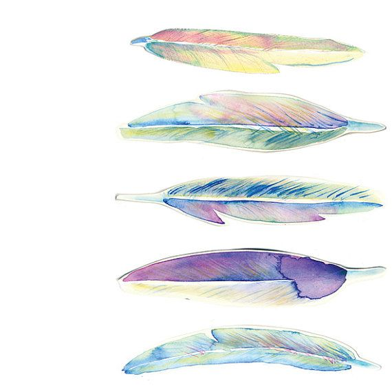 Gentle feathers Watercolour