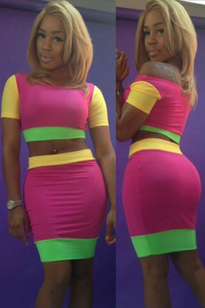 Body-hugging Colorful Bandage Casual Skirt Set