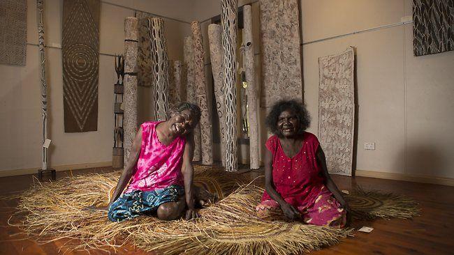 Acclaimed Yirrkala artists Barrupu Yunupingu and her sister Nyapanyapa. Picture: Vanessa Hunter Source: The Australian
