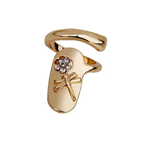 Description: Material: Alloy, Rhinestone Inner Dia: Approx. 2.5 x1.85cm/0.98 x 0.73 inch Size: Adjustable Color: Gold Finger tip ring with nail design, fashionable and unique. It is a good gift for your lover,family,friend and coworkers. Note: The size is measured by hand, please understand the size difference.  Package Includes: 1 x Finger Tip Nail Ring