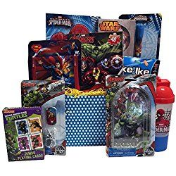 Ultimate Super Hero Valentines Day Gift Baskets for Kids, Fun and Games Ideal Valentine Gifts for Kids 3 to 8 Years Old
