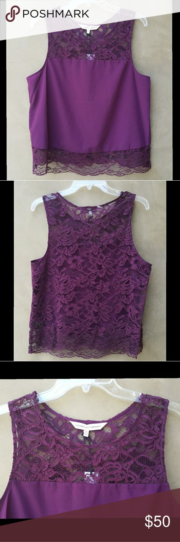 """CUPCAKES & CASHMERE Sheer Lace Tank Top Fun Flirty Size: Large Color: Eggplant (Wine)  Retail Price: $110  Measurements (measurements taken laying flat): Chest 20""""; Waist 20.5""""; Length 23.5""""  Gorgeous sheer crepe and lace tank top. Lace hem. Sleeveless.  71% Cotton, 29% Nylon. Hand wash cold. Cupcakes & Cashmere Tops Tank Tops"""