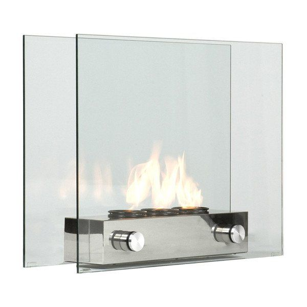 A new sleek glass fireplace is exactly what you'll need to enhance the interior or exterior design of your place. The portable fireplace is made of tempered glass and brushed nickel at the base. Pleas