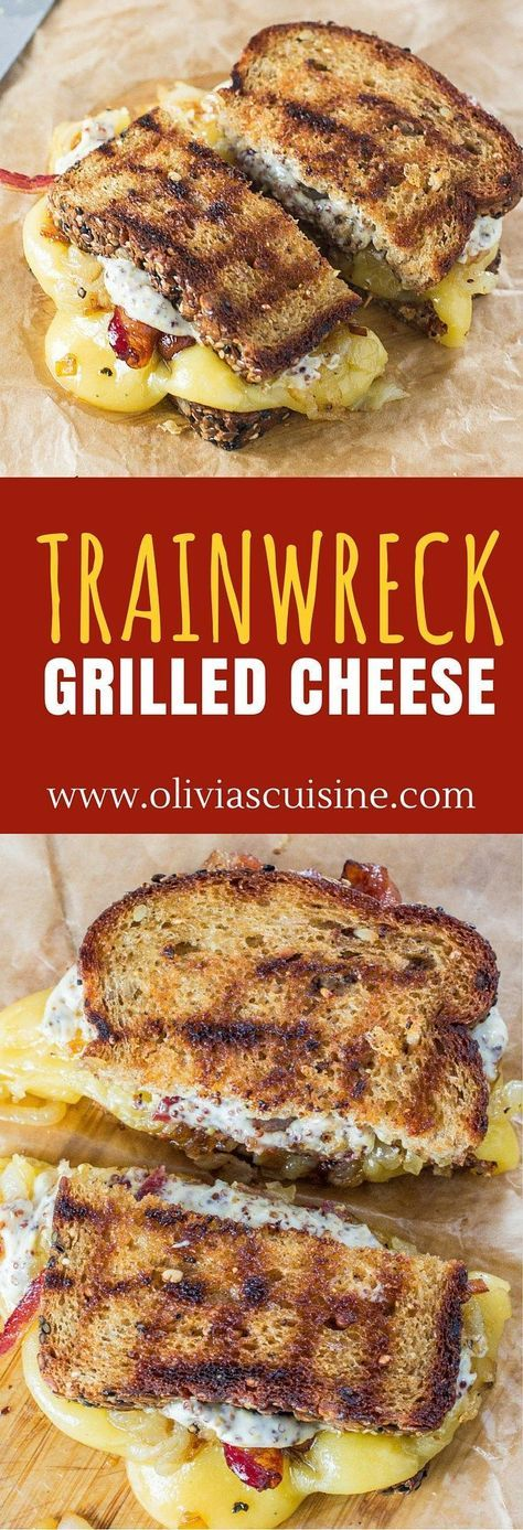 Trainwreck Grilled Cheese | http://www.oliviascuisine.com | Gouda cheese, caramelized onions and Maple Whiskey bacon join forces to create the most amazing grilled cheese ever! (Sponsored by Arla Dofino)